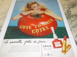 ANCIENNE PUBLICITE VERNIS A ONGLES CUTEX TOMATA 1954 - Parfums & Beauté