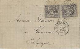 1878 -lettre D'Armentières  Affr. Paire 15 C Sage  Oblit. Cad  Ambiance.  LILLE A CALAIS 1°   A - 1877-1920: Période Semi Moderne