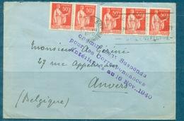 FRANCE GUERRE 39 / 45 Lettre Affr. 50 C Paix X 5 Ex.pour ANVERS Griffe Violette - Marcophilie (Lettres)