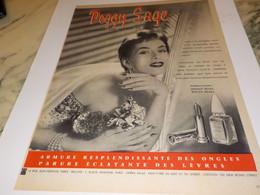 ANCIENNE PUBLICITE VERNIS A ONGLES PEGGY SAGE 1954 - Parfums & Beauté