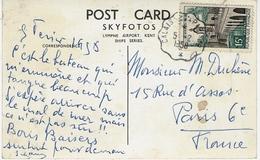 """1958- C P A  Paquebot S N C F """" Cote D'Azur """"  Affr. 15 F Oblit. Conv. Ligne CALAIS A PARIS 1° - Marcophilie (Lettres)"""