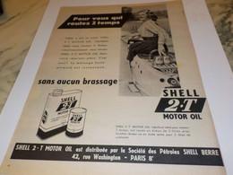 ANCIENNE PUBLICITE ROULEZ 2 TEMPS SHELL 1954 - Transports