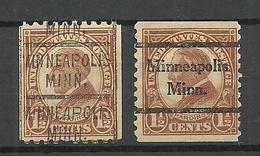 USA 1925 MINNEAPOLIS. Pre-cancels, 2 Different Types President Harding Michel 261 - Precancels
