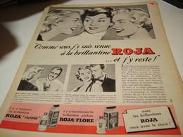 ANCIENNE PUBLICITE CHEVEUX BRILLANTINE ROJA FLORE 1954 - Perfume & Beauty