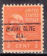 USA Precancel Vorausentwertung Preo, Locals Alabama, Mount Olive 734 - Vereinigte Staaten