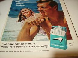 ANCIENNE PUBLICITE CIGARETTE  MENTHOLE NEWPORT 1965 - Tabac (objets Liés)