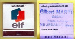 """Pochette D'allumettes """" ELF """" Offert Par Le Garage MARTIN Route D'AUXEY à 21190 MEURSAULT _D401 - Cajas De Cerillas (fósforos)"""