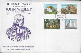 JOHN WESLEY -  TEOLOGO METODISTA - 200° VISITA ISOLA MAN - SERIE 4 VAL. (YVERT 94/7) - F.D.C. 19.101977 - Teologi