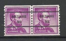 USA 1958 BALTIMORE Mo. Pre-cancel Michel 657 As A Pair - United States