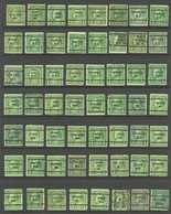 USA Lot PRE-CANCEL Stamps, 56 Exemplares, B. Franklin Different Types & Perforations - Etats-Unis