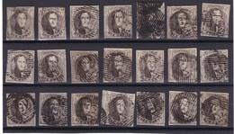 N° 6 : 21 TIMBRES Margés - 1851-1857 Médaillons (6/8)