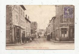Cp, 86 ,  MONTMORILLON , Route De POITIERS , Commerces , Coiffeur , Tabac , Voyagée 1929 - Montmorillon