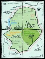 NIUE - 2018 - Carte De L'île De Niue - 4 Val Neufs // Mnh - Niue