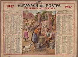Almanach Des Postes 1947 Illustré Louis Beuzon Charme De Vie Campagnarde Petite Fille Romance Au Puits Pas De Calais - Calendriers