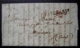1822 Port Payé Paris + Marque Rouge (bonnet?) Sur Une Lettre Pour Mauriac (Cantal), De Penin Et Liandon, Avocats - 1801-1848: Précurseurs XIX