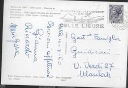 "ANNULLO A TARGHETTA "" CELLE LIGURE..."" UFF. CELLE LIGURE/SAVONA SU CARTOLINA CELLE LIGURE - 6. 1946-.. Repubblica"