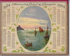 Almanach Des Postes Et Telegraphes 1934 Illustré La Malouine Dinard Canot Bateau De Peche Dpt Aude - Calendriers