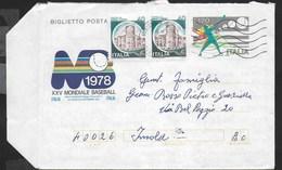 BIGLIETTO POSTALE BASEBALL (INT 52) DA ALBISSOLA MARE 1982 CON COPPIA CASTELLI LIRE 40 - Baseball