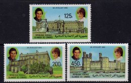 Comores N° 345 / 47 X Mariage Royal Du Prince Charles Et De Lady Diana Les 3 Valeurs Trace De Charnière Sinon TB - Comores (1975-...)