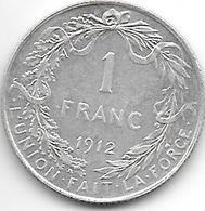 *belguim 1 Franc 1912 French  Xf - 1909-1934: Albert I