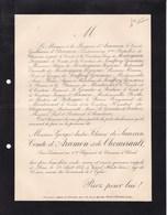 VESOUL Georges De SAUVAN Comte D'ARAMON Et De CHEMERAULT 28 Ans 1887 Officier 4e Chasseurs à Cheval Lettre Mortuaire - Obituary Notices