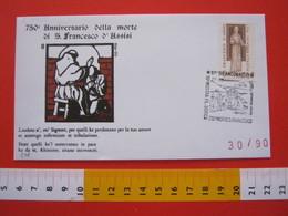 A.02 ITALIA ANNULLO - 1976 ANCONA 750° MORTE SAN FRANCESCO ASSISI MOSTRA FILATELICA DORICA - Cristianesimo