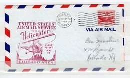 Lettre Envoyé Par HELICOPTER - First Flight A.M. 96 - CHICAGO AERA - Event Covers