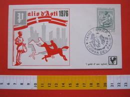 A.02 ITALIA ANNULLO - 1976 ASTI CORSA DEL PALIO SERVIZI DA CAMPO FOLKLORE GIOSTRA GIOCO CAVALLO HORSECOSTUMI MEDIOEVO - Costumi