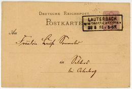 """""""LAUTERBACH IM GROSSH HESSEN"""" Klarer Ra 3 Auf Pfg. Postkarte 1881 - Ganzsachen"""