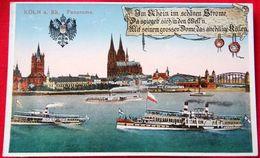 KÖLN A Rh. Panorama (mit Dampfschiffen) Verlag A.Worringen Köln A.Rh. Alter Markt (Echt Photocolor) - Koeln