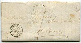 INDRE ET LOIRE De LUSSAULT SUR LOIRE LAC Du 24/09/1847 Boîte Rurale M+ Dateur T15 AMBOISE + Taxe Plume De 7 - Postmark Collection (Covers)