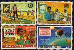 Comores N°158 / 61 XX 25ème Anniv. 1ers Timbres-poste émis Par Les Nations-Unies Les 4 Val.  Trace De Charnière Sinon TB - Comores (1975-...)