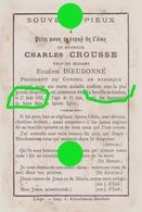 NEUVILLE EN CONDROZ 1882 Mr Charles Crousse Veuf Dieudonné  Président Du Conseil De Fabrique  / RARE - Obituary Notices