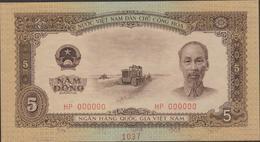 N .VIETNAM  1958  SPECIMEN BANKNOTE  5 Dong  Pick N°73  Note N° 1037  TTB+ - Viêt-Nam