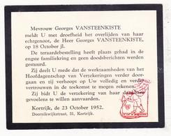 Mededeling Overlijden - Georges VanSteenkiste † Kortrijk 1952 / Verzekeringskantoor Doornikwijkstraat - Obituary Notices