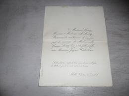 Document ( 494 ) Faire - Part Huwelijk  Waterloos / Loicq - Melle  Château Du Zwaenhoek  1923 - Mariage