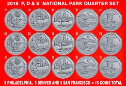 2018 P, D & S America The Beautiful Quarter 15 Coin Set - Émissions Fédérales