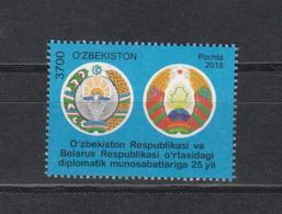 Uzbekistan Usbekistan MNH** 2018 Joint Issue Belarus Dipl. Relation Uzbekistan  Mi 1323 M - Gemeinschaftsausgaben