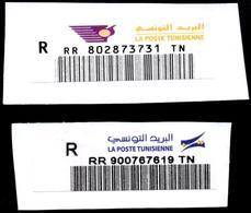 TUNISIA - Bar Code Registered Labels(Old And New) - Code à Barres Etiquettes De Recommandation (Ancienne Et Actuelle) - Poste