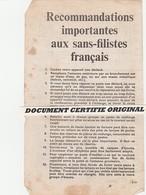 TRACT 39/45 - RECOMMANDATIONS IMPORTANTES AUX SANS FILISTES FRANCAIS - Historische Documenten
