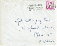 """1962 - Belgique Pour La France -Obl """"PAIN DE LA PAIX - UN JOUR SANS FAIM DU 1 AU 7.10.62"""" -Tp Roi Baudouin 1er (n° 1067) - Flammes"""