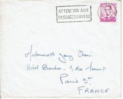 """1962 - Belgique Pour La France - Obl """"ATTENTION AUX PASSAGES A NIVEAU"""" - Tp Roi Baudouin 1er (n° 1067) - Flammes"""