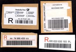 Bar Code Registered Labels Germany Spain Poland Greece Code à Barres Etiquettes De Recommandation - Poste
