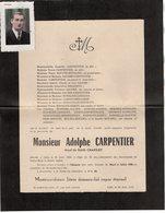 VP13.569 - SAINT ANDRE LEZ LILLE 1950 - Photo & Faire - Part De Décès De Mr Adolphe CARPENTIER - Obituary Notices