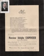 VP13.570 - SAINT ANDRE LEZ LILLE 1950 - Photo & Faire - Part De Décès De Mr Adolphe CARPENTIER - Obituary Notices