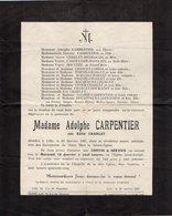 VP13.571 - SAINT ANDRE LEZ LILLE 1947 - Faire - Part De Décès De Mme Adolphe CARPENTIER - Obituary Notices