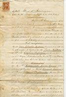 ETATS UNIS LOUISIANE NOUVELLE-ORLEANS 1871. ACTE DE MARIAGE ENTRE ORIGINAIRES DE ANGOS HAUTES PYRENEES TIMBRES FISCAUX - Manuscrits