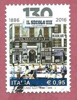 """ITALIA REPUBBLICA USATO - 2016 - 130º Anniversario Della Fondazione Del Quotidiano """"Il Secolo XIX"""" - € 0,95 - S. 3720 - 6. 1946-.. Repubblica"""