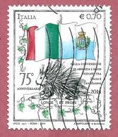 ITALIA REPUBBLICA USATO 2014 - 75º Anniversario Convenzione Internazionale Tra L'Italia E San Marino - 0,70 € - S. 3486 - 2011-...: Afgestempeld