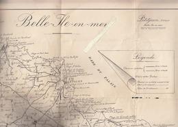 Belle Ile En Mer 56 - Plan - Carte De L'ile édité Par Petitjean - Avec Chemins Cyclables Avec Vitesse Et Sans Vitesse - Technical Plans